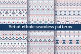 Fototapety Set of six ethnic seamless patterns.