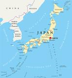 Mapa polityczna Japonii ze stolicą Tokio, granice państwowe i ważne miasta. Angielskie etykietowanie i skalowanie. Ilustracja.