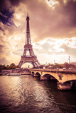 Beautiful Eiffel Tower in Paris France under golden light