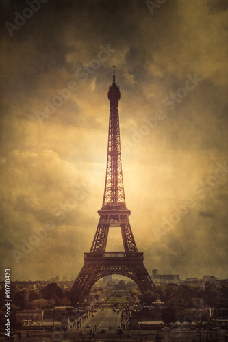 Vintage style Eiffel Tower with vintage grunge texture poster