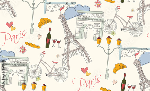 Tapeta Paris symbols, postcard, seamless pattern, hand drawn