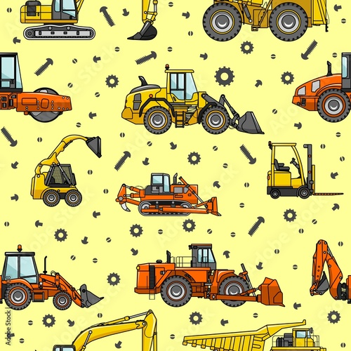 Cotton fabric Heavy construction machines seamless pattern