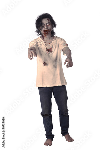 Scary Asian Male Zombie Poster