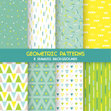 8 Seamless Geometric Patterns - Texture for wallpaper, backgrounds