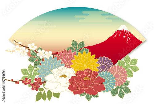 Fototapeta 赤富士山と花と扇