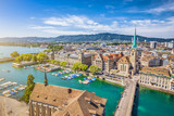 Fototapety Historic Zürich city center with river Limmat, Switzerland