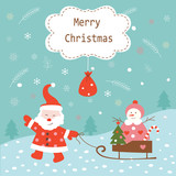 Christmas vintage background with Santa and snowman