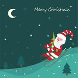 Christmas vintage background with sledding Santa