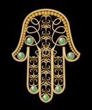 Miriam hand - amulet of protection in gold filigree design