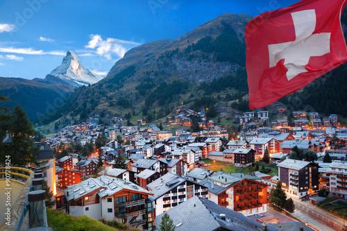 Poster Zermatt village with the peak of the Matterhorn in the Swiss Alps