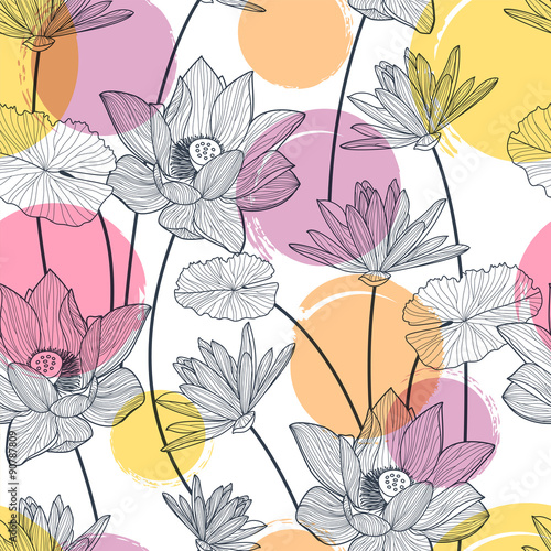 Fototapeta Vector seamless pattern with beautiful lotus flower and colorful