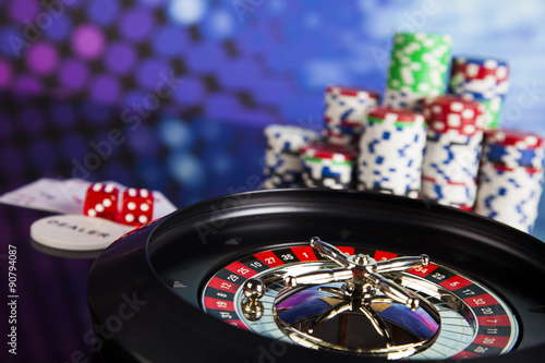 Foto op Aluminium Las Vegas Poker Chips on a gaming with casino roulette