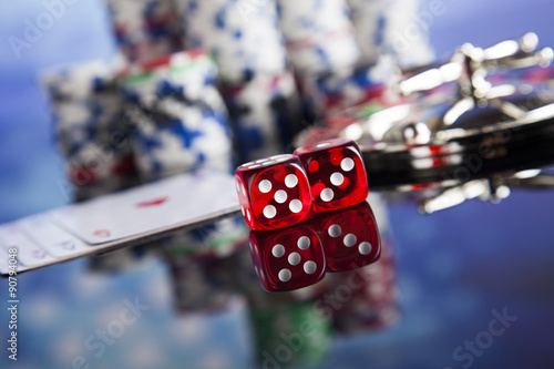 Roulette in casino and Poker Chips плакат