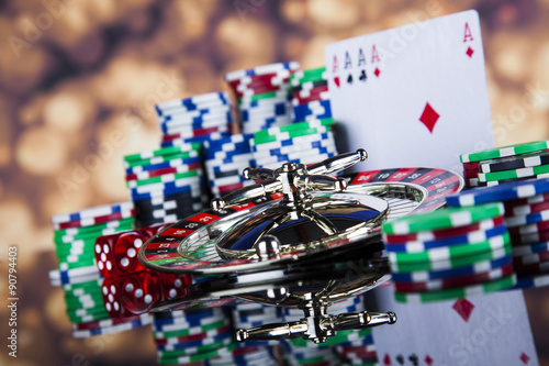 Roulette in casino and Poker Chips Poster