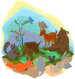 Cartoon forest wilderness landscape with wildlife animals surrounding the tree trunk grub  poster