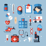 Medical diagnosis and treatment flat icons design. Vector illust