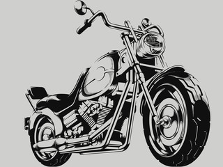 Vintage Motorcycle Vector Silhouette © bluezace