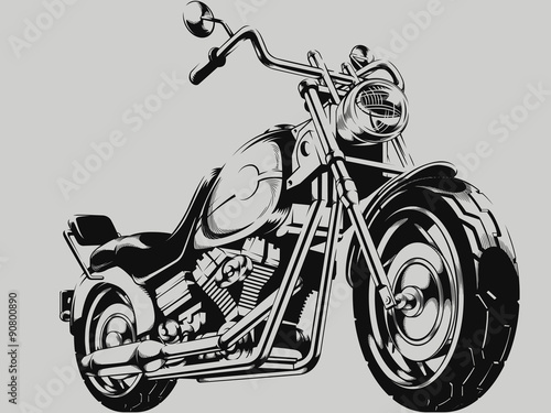 Vintage Motorcycle Vector Silhouette Poster