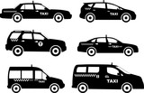 Fototapety Set of different silhouettes taxi cars. Vector illustration