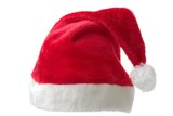 saint nicks furry red holiday hat on white poster