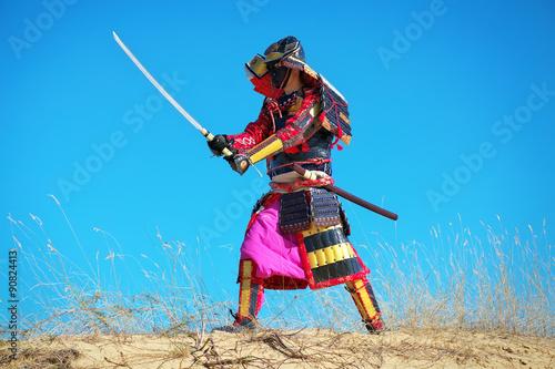 Poster Man in samurai costume with sword. Original Character