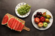 Fresh fruits on kitchen table, healthy food background