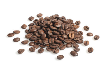 Coffee beans heap isolated on white background