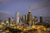 Fototapety Warsaw downtown sunrise aerial view, Poland
