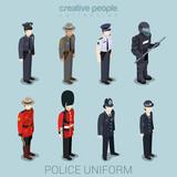 Police people in uniform flat style isometric icon set - 90866046
