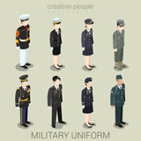 Military army people in uniform flat style isometric icon set - 90866059