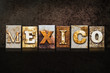 Mexico Letterpress Concept on Dark Background