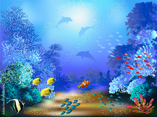 Fototapeta The underwater world with fish and plants