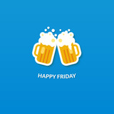 Happy friday card with two clang glasses of beer at blue poster