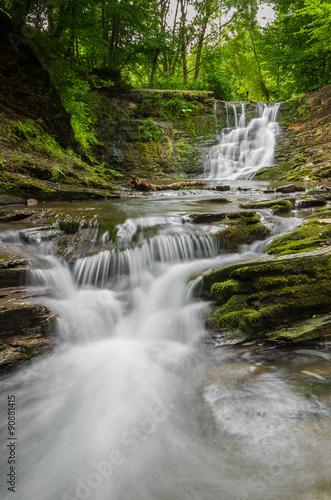 Obraz Waterfall in Iwla, Beskid Niski mountain range in Polish Carpathian Mountains