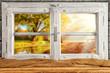 Vintage wooden window overlook autumn trees - 90888864