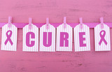 Pink Ribbon Charity for Womens Health Awareness Cure Message.
