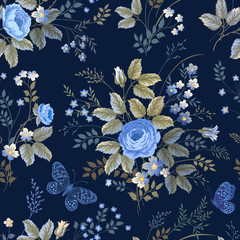 seamless floral pattern with blue roses on dark blue background