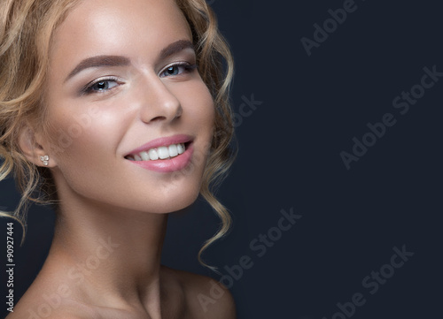 Poster, Tablou Beautiful blond woman in image of the bride. Beauty face and