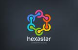 Hexagon Chain Social Logo abstract design vector. Teamwork - 90934434
