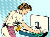 woman cleans kitchen sink cleanliness housewife housework comfor