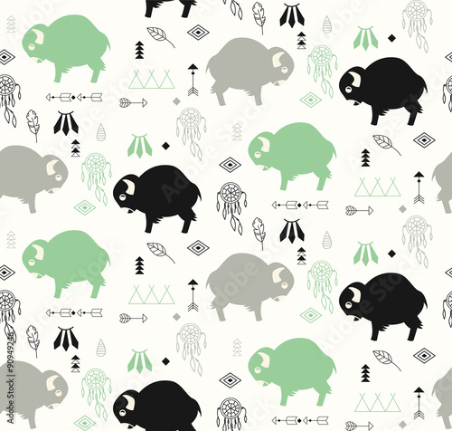 Seamless pattern with cute baby buffaloes and native American sy - 90949246