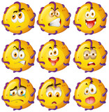 Yellow critter with facial expressions poster