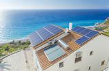 solar palels, photovoltaic, roof, sea  house - Fine Art prints