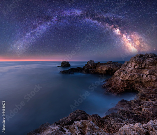 Fototapeta Milky Way over the sea. Night landscape with Milky Way Galaxy above the Black sea