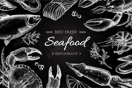 Poster Vector vintage seafood restaurant illustration.