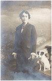 old photo  of  girl with dog