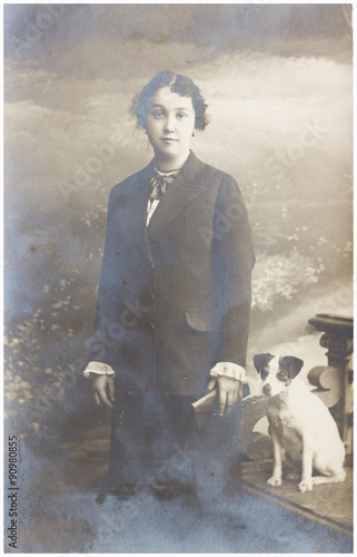 old photo of girl with dog © neirfy