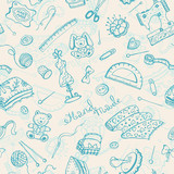 Handmade items seamless pattern.