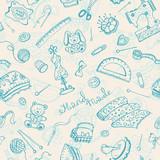 Handmade items seamless pattern.