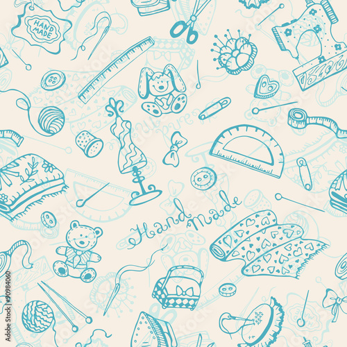 Handmade items seamless pattern. - 90984060